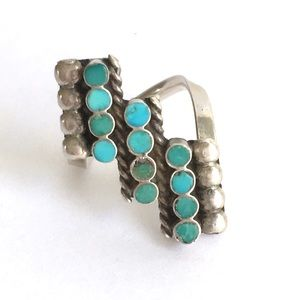 Vintage Turquoise Native American Zuni Ring 4.5